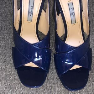 Prada ink sapphire royal blue block heel sandals